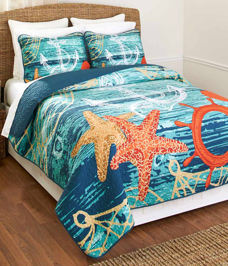 transition home decor from spring to summer - Nautical Quilt or Sham