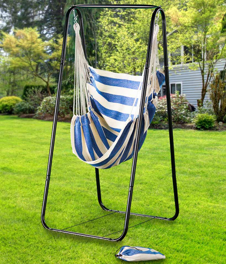 Decorate a Coastal patio - Cabana Striped Hanging Chairs