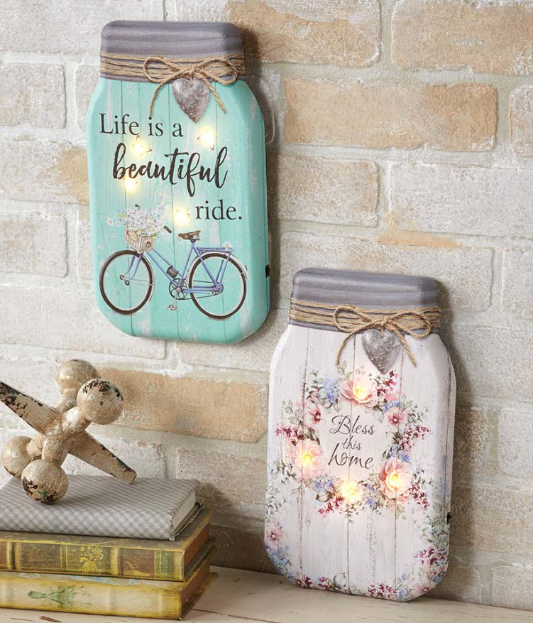 Transition home decor from spring to summer - Lighted Canvas Mason Jar Wall Art