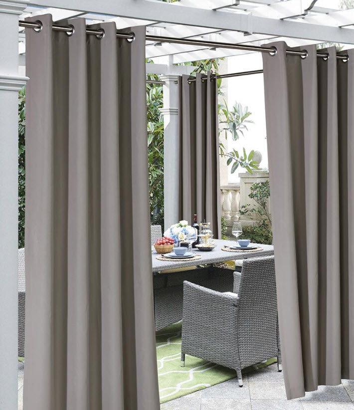 Outdoor Furniture Ideas - Outdoor Cabana Stripe or Solid Curtain