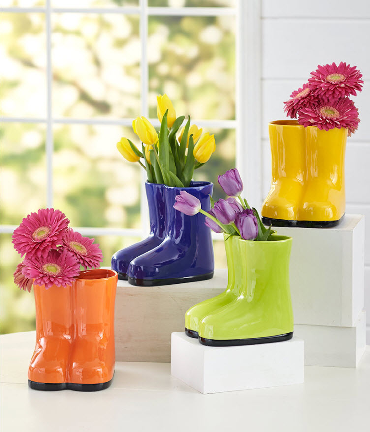 Transition home decor from spring to summer - Colorful Rainboot Vases