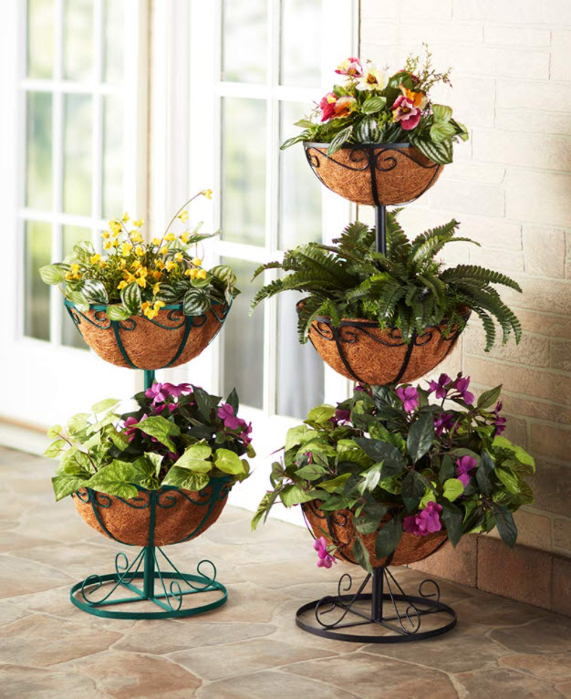 Small Porch Decor Ideas - Tiered Planters with Coco Liners