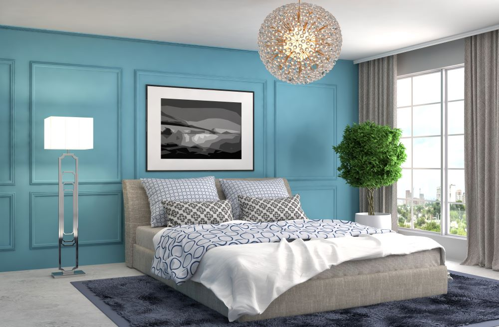 choose a color palette for your bedroom - use various shades and tones