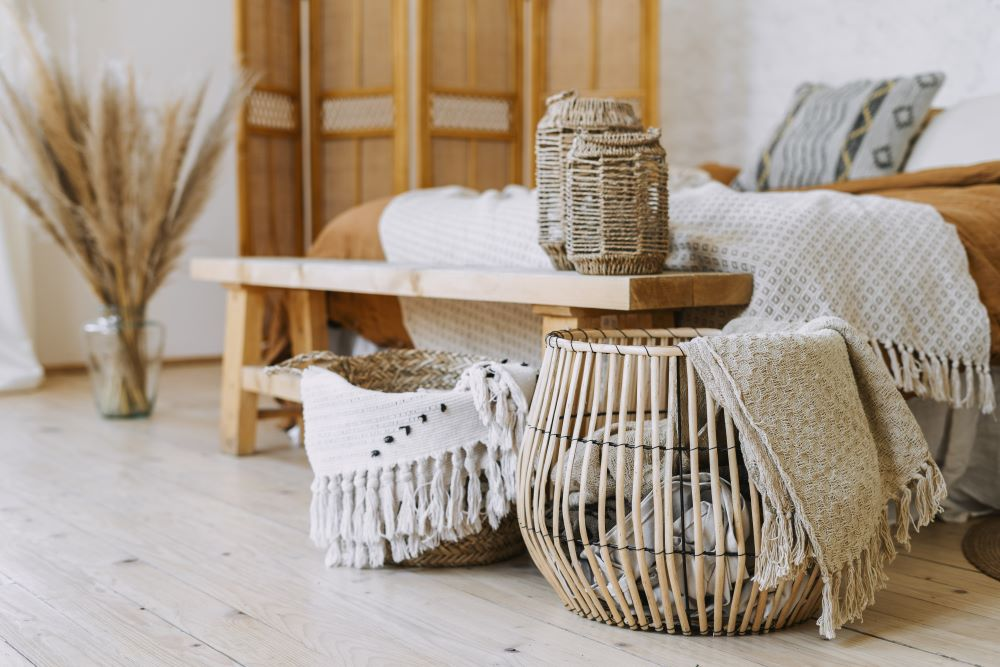 Foot of the bed bench and baskets