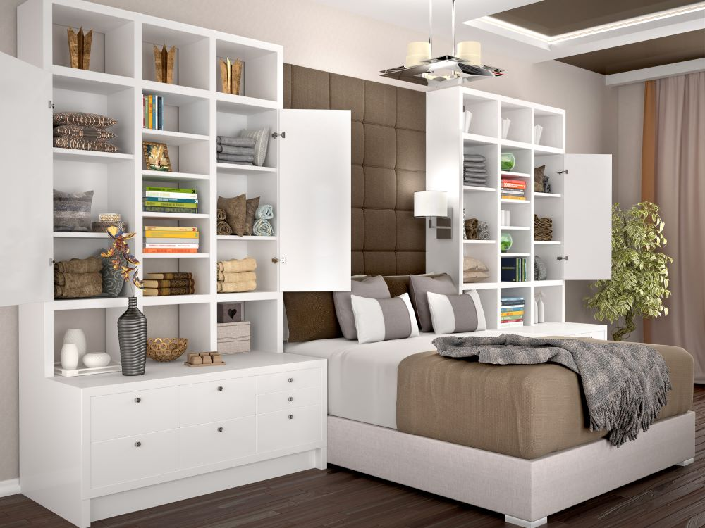 Organizing A Small Bedroom - over the bed shelving unit