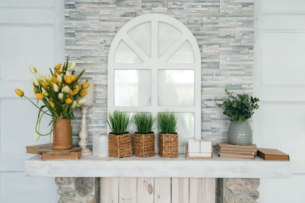 Ways To Use Peel and Stick Wallpaper - decorative mantel wall