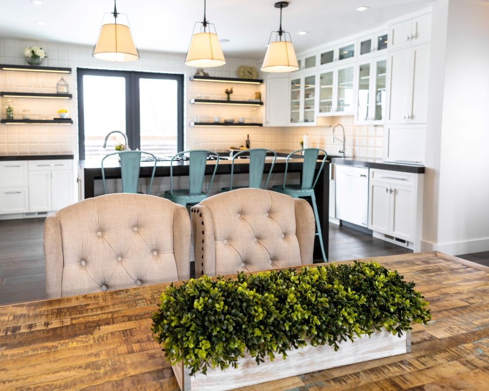 rustic kitchen table with new chairs