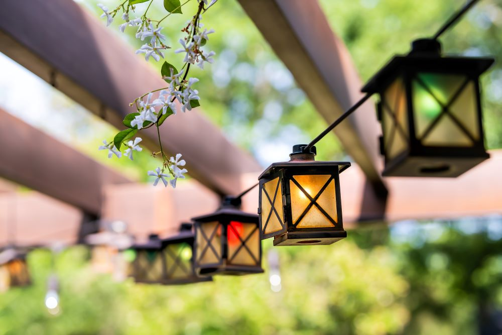 Small Patio Decorating Ideas - use outdoor lighting and string lights