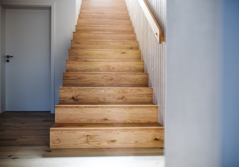 Ways To Use Peel and Stick Wallpaper - wooden stairs