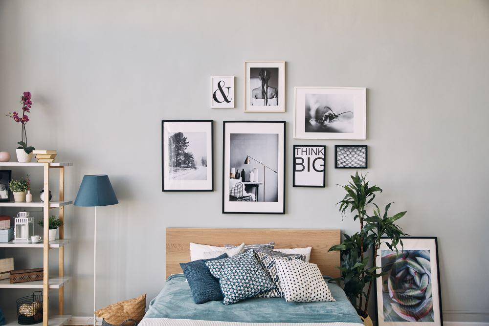 Over The Bed Decorating Ideas - gallery wall