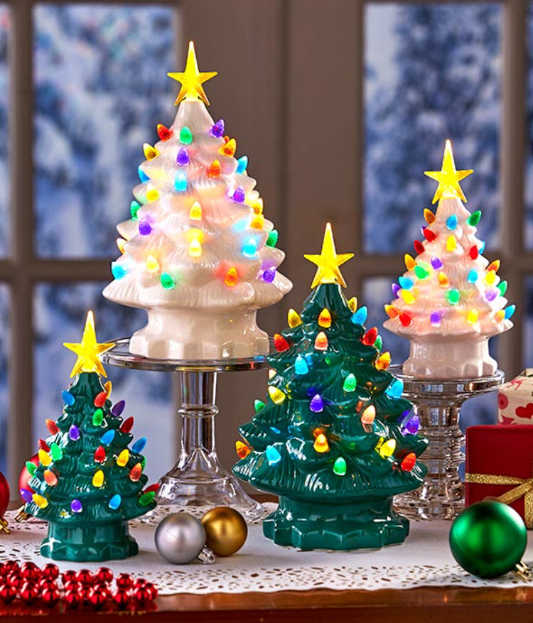 christmas in july sale - Retro Lighted Tabletop Christmas Trees