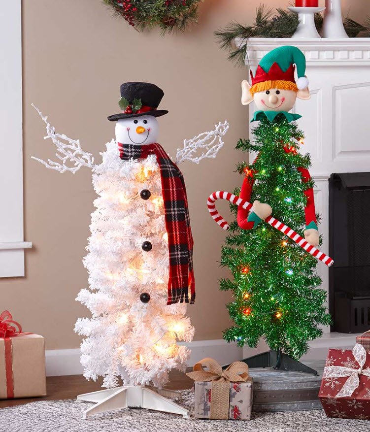 Lighted Elf & Snowman Character Christmas Trees