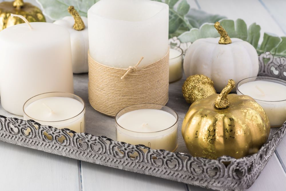 Ways To Decorate Your Home With Pumpkins - elegant pumpkin fall tray