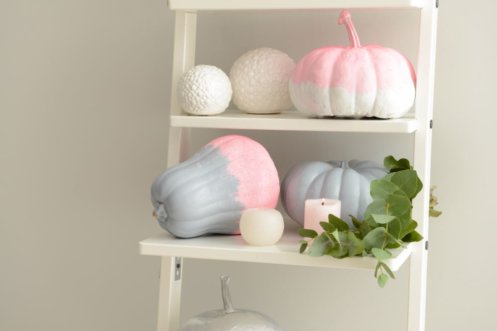 Ways To Decorate Your Home With Pumpkins - pastel fall ladder shelf