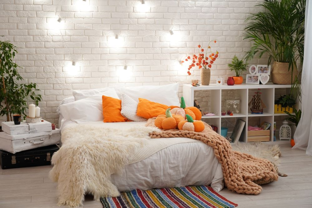 Fall Bedroom Ideas - splashes of fall colors