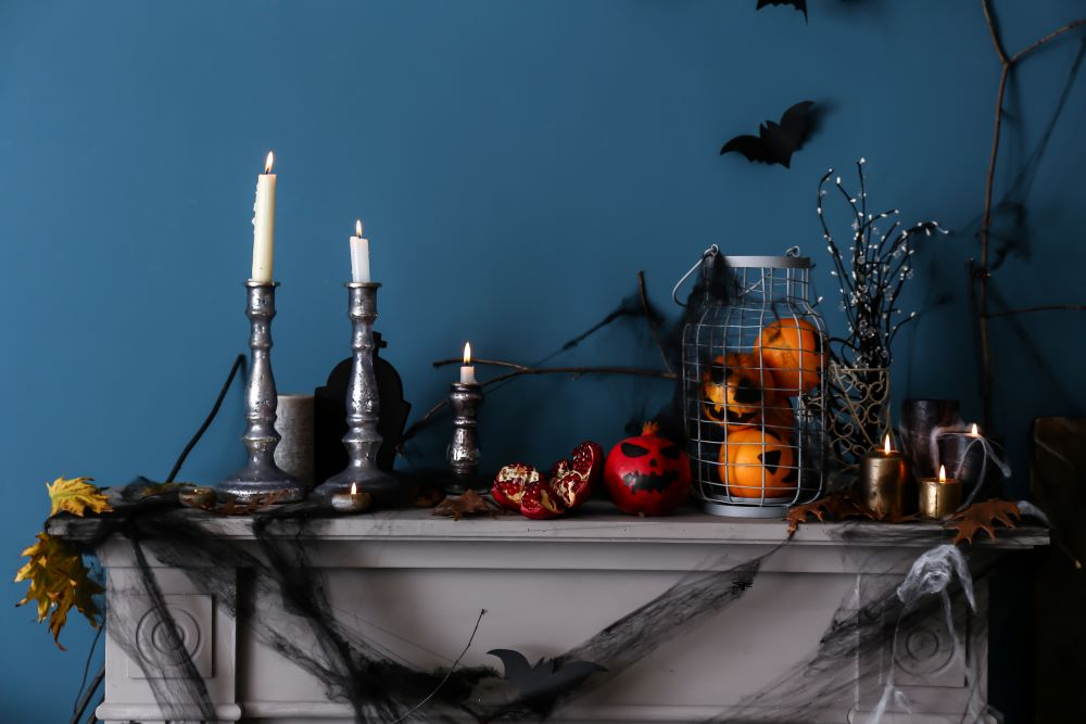 How To Transition Your Home From Fall To Halloween - halloween mantel