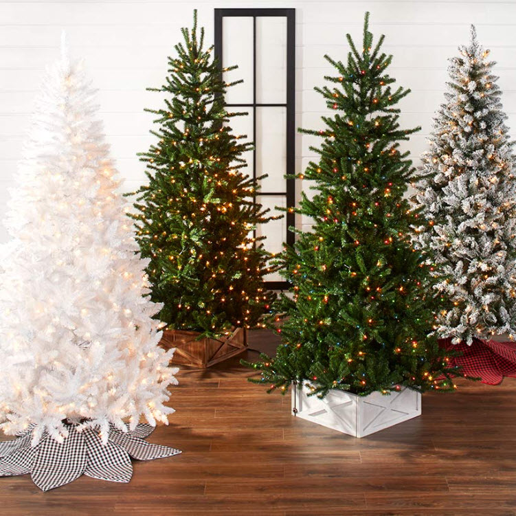 7.5-Ft. Pre-Lit Artificial Christmas Trees