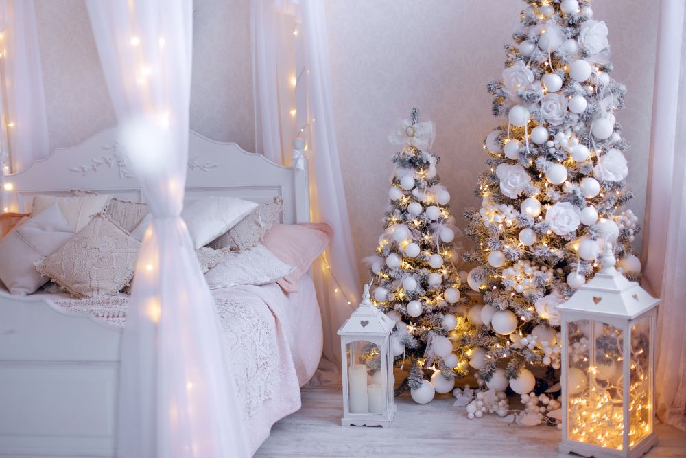 How To Make Your Bedroom Cozy For Christmas - white Christmas bedroom